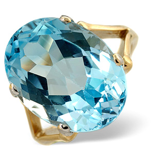 Blue Topaz 11.70CT 9K Yellow Gold Ring