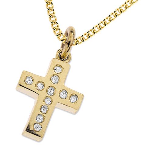 10MM X 14MM 9K GOLD DIAMOND CROSS