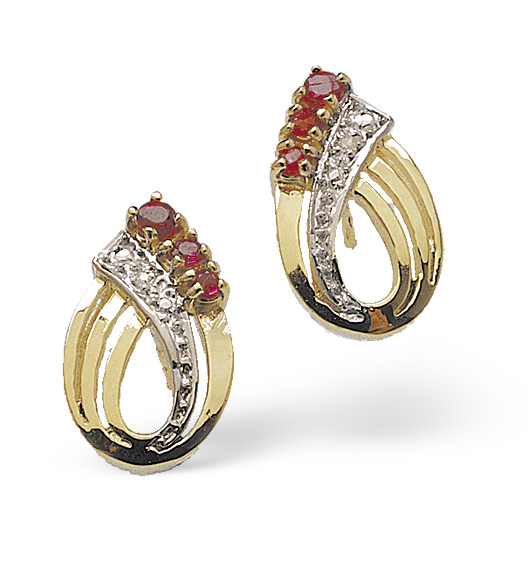 RUBY 0.10CT AND DIAMOND 9K YELLOW GOLD EARRINGS