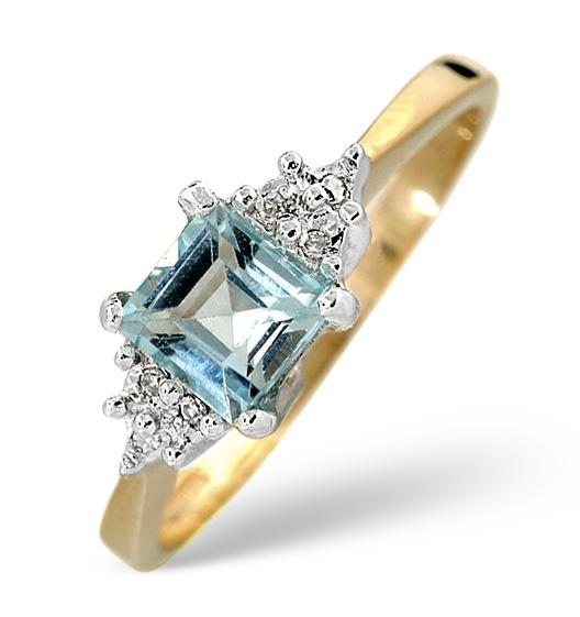 BLUE TOPAZ 5 X 5MM AND DIAMOND 9K YELLOW GOLD RING