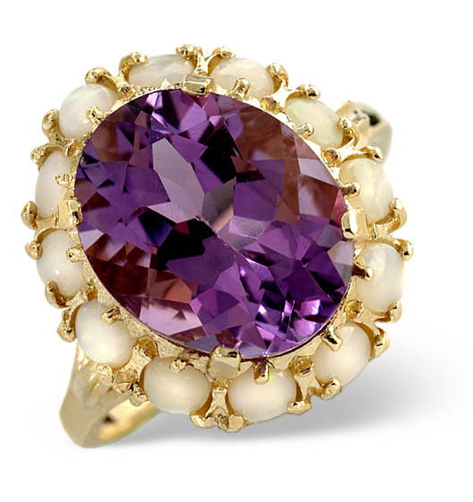 AMETHYST 12 X 10MM AND OPAL 9K GOLD RING