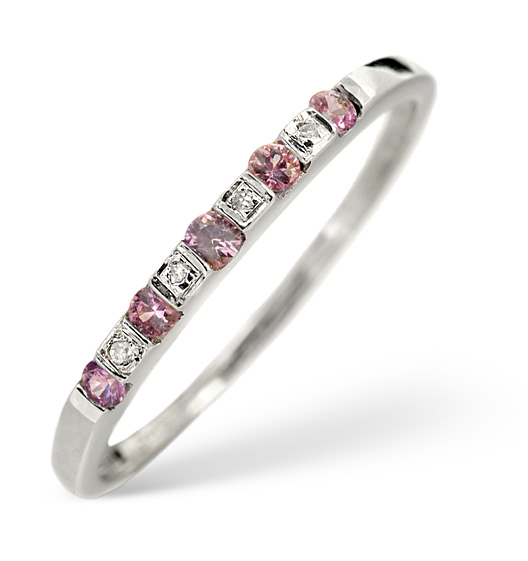 PINK SAPPHIRE AND DIAMOND RING 9K WHITE GOLD