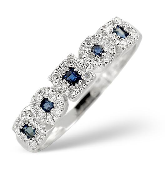 Sapphire 0.18ct And Diamond 9K White Gold Ring