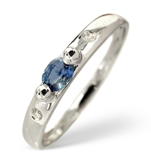 SAPPHIRE 0.25CT AND DIAMOND 9K WHITE GOLD RING
