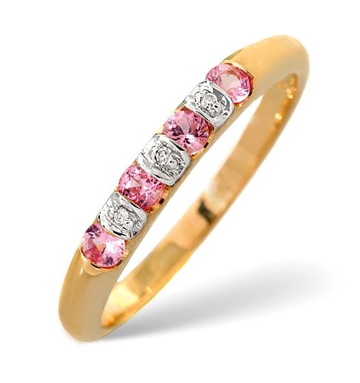 PINK SAPPHIRE 0.26CT AND DIAMOND 0.01CT 9K GOLD RING - RTC-E5374