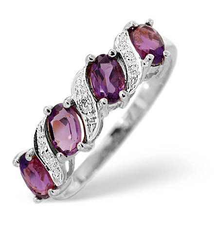 AMETHYST 0.74CT AND DIAMOND 9K WHITE GOLD RING