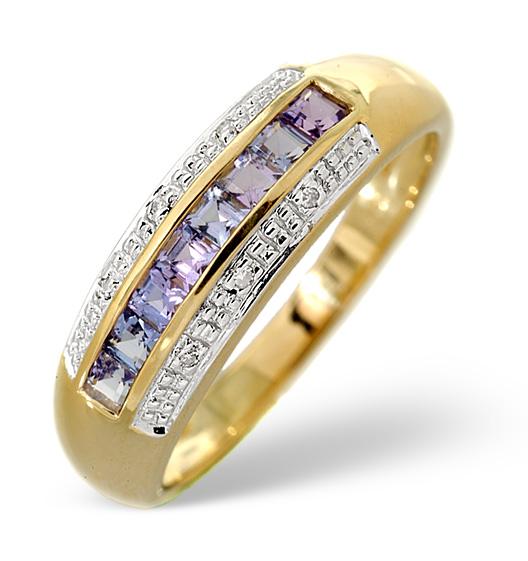 TANZANITE 0.37CT AND DIAMOND 9K GOLD RING