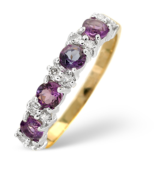 AMETHYST 0.48CT AND DIAMOND 9K GOLD RING