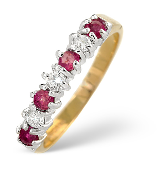 Ruby 0.30ct And Diamond 9K Gold Ring