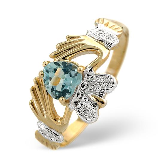 BLUE TOPAZ 5MM AND DIAMOND 9K GOLD CLADDAGH RING