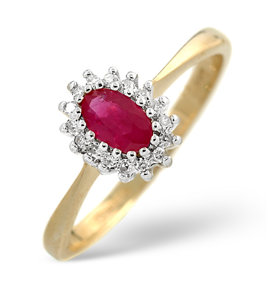 RUBY 5 X 3MM AND DIAMOND 18K GOLD RING