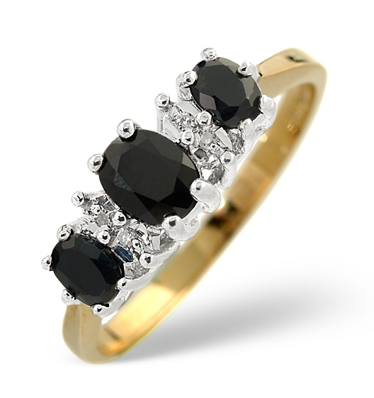 SAPPHIRE 1.00CT AND DIAMOND 9K GOLD RING