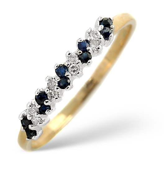 Sapphire 0.18ct And Diamond 9K Gold Ring