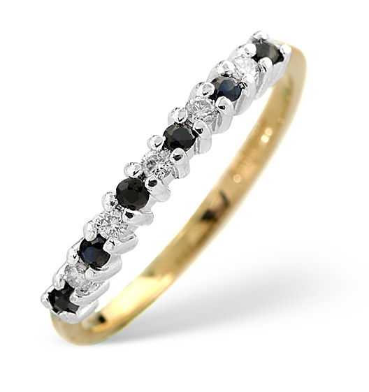 Sapphire 0.10ct And Diamond 9K Gold Ring