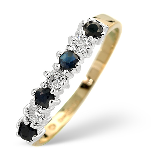 SAPPHIRE 0.30CT AND DIAMOND 9K GOLD RING