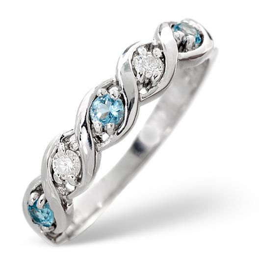 BLUE TOPAZ 0.18CT AND DIAMOND 9K WHITE GOLD RING