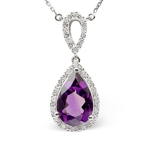 AMETHYST 2.78CT AND DIAMOND 9K WHITE GOLD NECKLACE