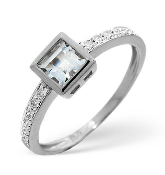 AQUAMARINE 0.41CT AND DIAMOND 9K WHITE GOLD RING