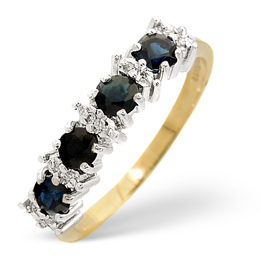 Sapphire 0.85ct And Diamond 9K Gold Ring