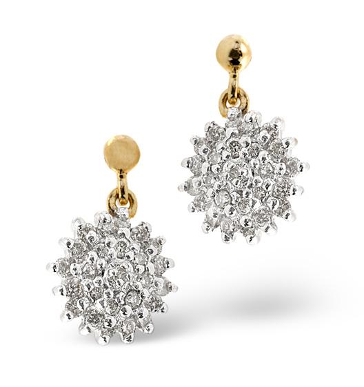 Cluster Earrings 0.50CT Diamond 9K Yellow Gold