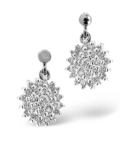 CLUSTER EARRINGS 0.50CT DIAMOND 9K WHITE GOLD