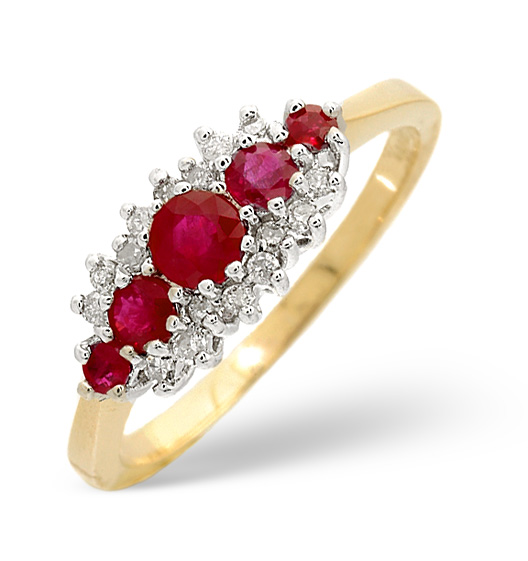 Ruby 0.66ct And Diamond 9K Gold Ring