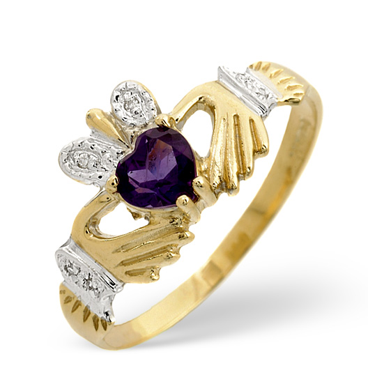 AMETHYST 5MM AND DIAMOND CLADDAGH 9K GOLD RING