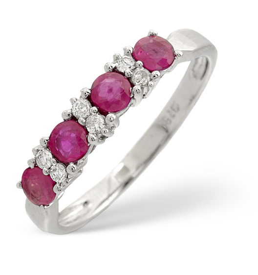 Ruby 0.66ct And Diamond 9K White Gold Ring
