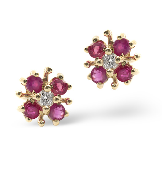 RUBY 0.40CT AND DIAMOND 9K YELLOW GOLD EARRINGS