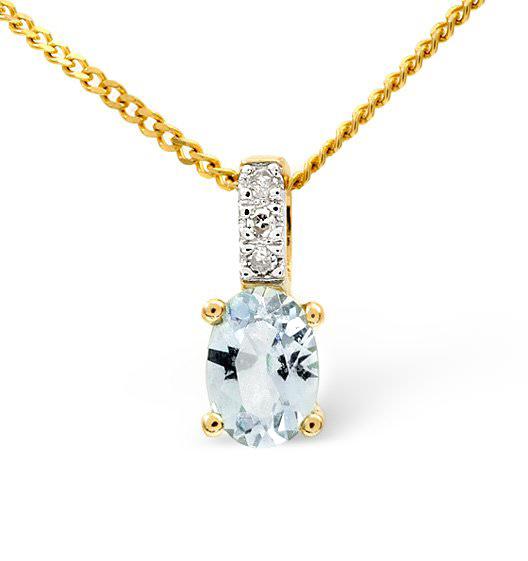 Aquamarine 0.34CT And Diamond 9K Yellow Gold Pendant
