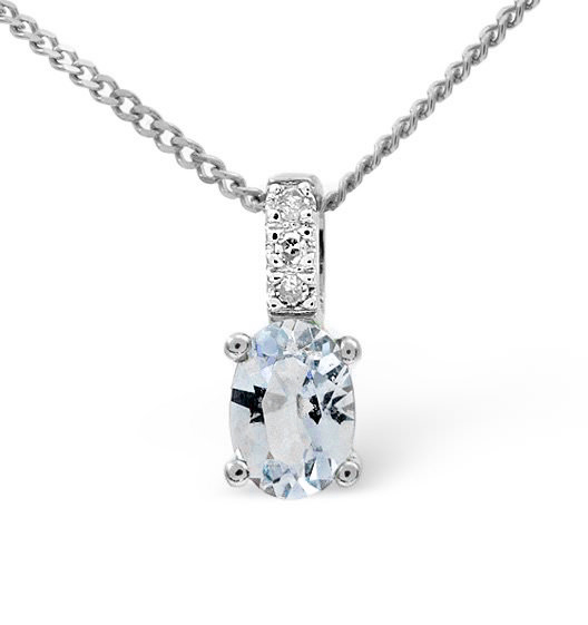 Aquamarine 0.34CT And Diamond 9K White Gold Pendant