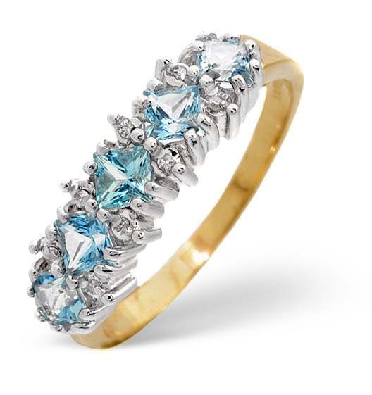 BLUE TOPAZ 3MM AND DIAMOND 9K YELLOW GOLD RING