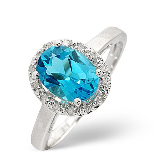BLUE TOPAZ 1.56CT AND DIAMOND 9K WHITE GOLD RING