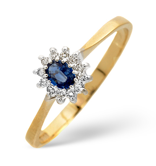 Sapphire 4 x 3 mm And Diamond 9K Gold Ring