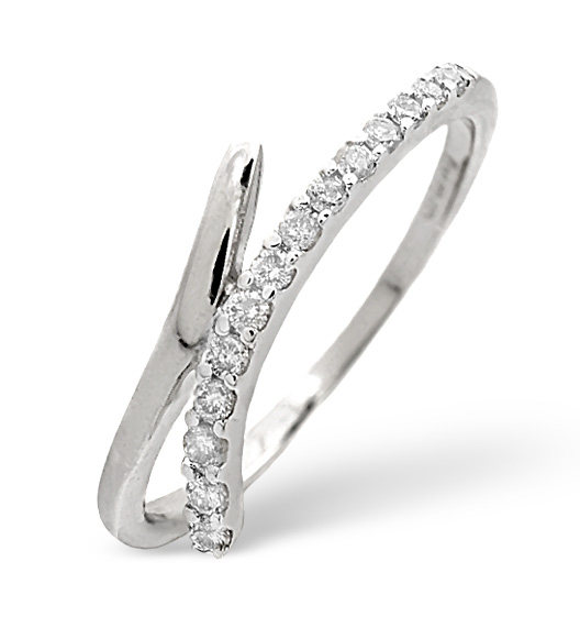 DIAMOND 0.15CT 9K WHITE GOLD CROSS-OVER RING