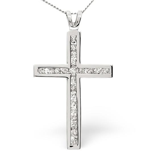 CROSS PENDANT 1.00CT DIAMOND 9K WHITE GOLD