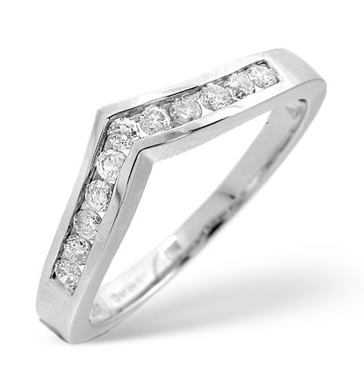 DIAMOND 0.27CT 9K WHITE GOLD WISHBONE RING