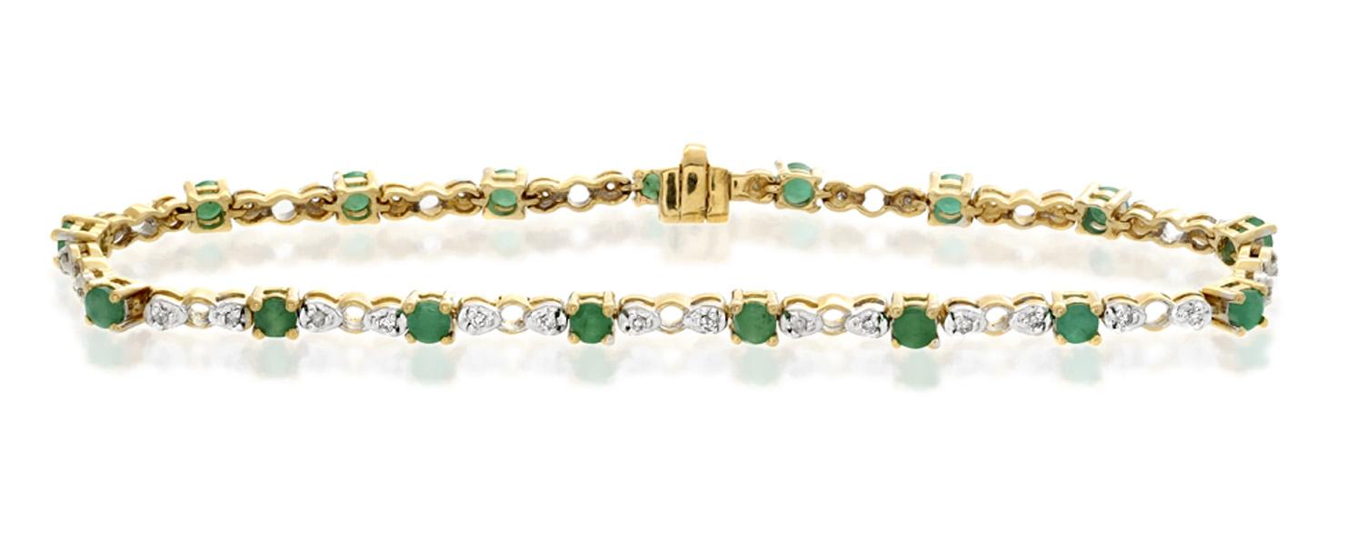 18K GOLD DIAMOND AND EMERALD CLAW SET LINK BRACELET