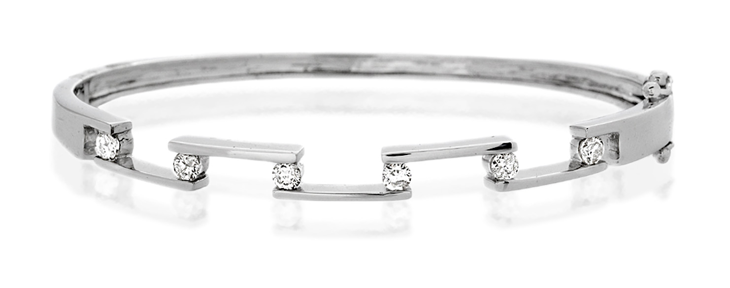 DIAMOND BANGLE 0.45CT 9K WHITE GOLD