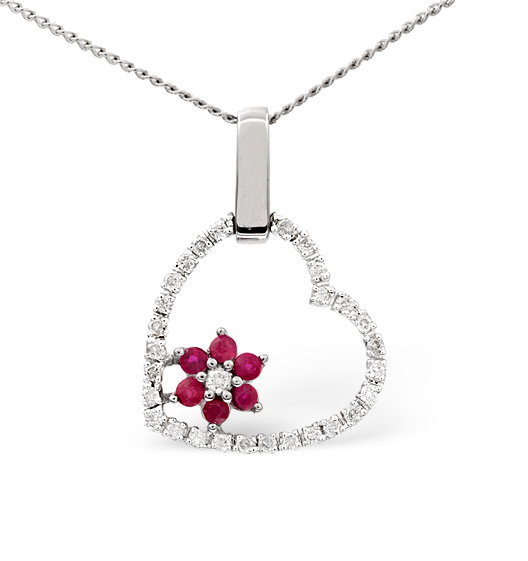 Ruby 0.18CT And Diamond 9K White Gold Pendant