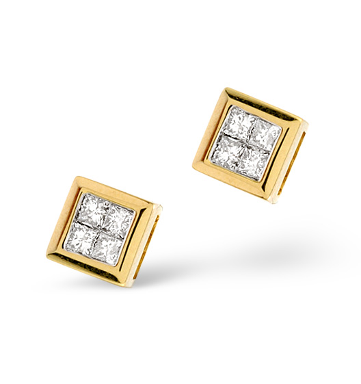 SMALL FANCY EARRINGS 0.25CT DIAMOND 9K YELLOW GOLD