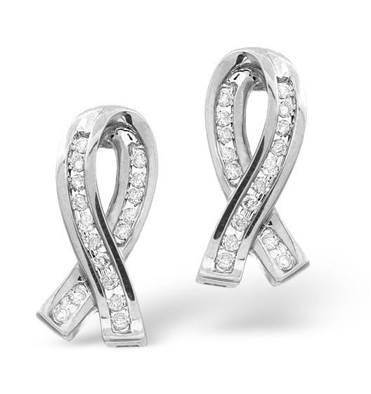RIBBON EARRINGS 0.31CT DIAMOND 9K WHITE GOLD