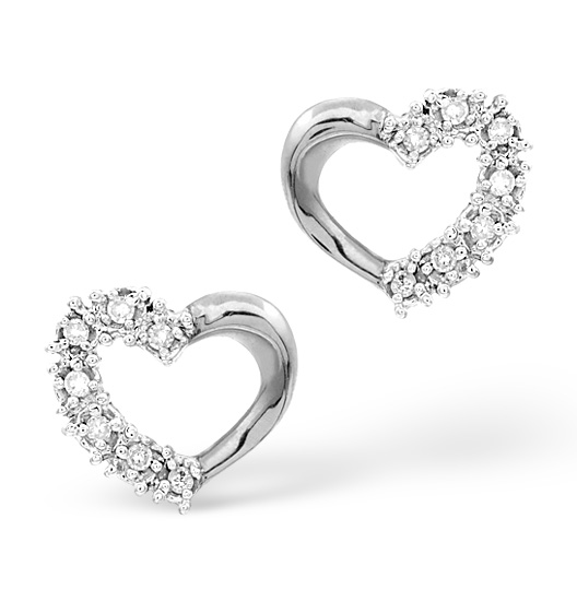 DIAMOND CLAW SET HEART EARRINGS 18K WHITE GOLD