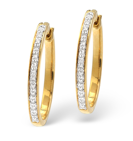hoop earrings 0 20ct pave set diamond 9k yellow gold