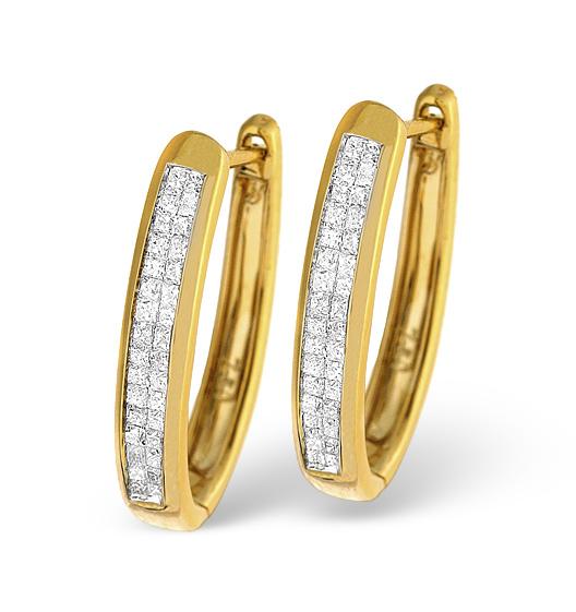 9K GOLD PRINCESS DIAMOND EARRINGS 0.50CT H/SI