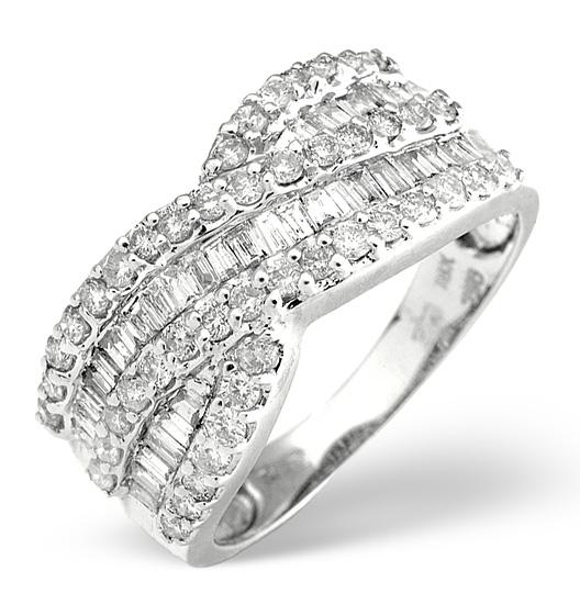DIAMOND 1.00CT 18K WHITE GOLD CROSS-OVER RING
