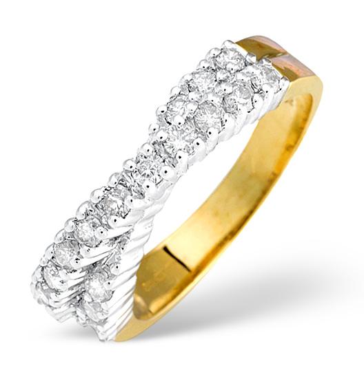 DIAMOND 0.50CT 18K YELLOW GOLD CROSS-OVER RING