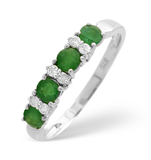 EMERALD 0.49CT AND DIAMOND 9K WHITE GOLD RING