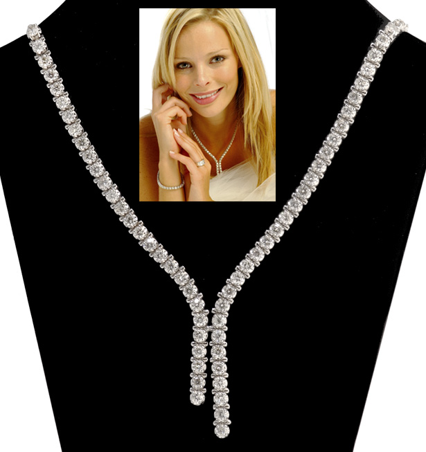 10.00CT DIAMOND NECKLACE SET IN 18K WHITE GOLD