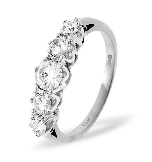 Grace 18K White Gold 5 Stone Diamond Eternity Ring 0.75CT H/SI
